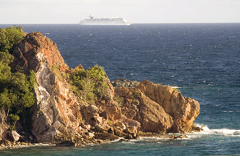 Cruise ship passes Chocolate Hole, St. John USVI