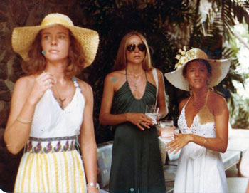 Susan and Miles 1976 Wedding on St. John, Virgin Islands L to R: Cherie Cleland, Stephanie Johnson, Susan (Perkins) Stair. Photo by Craig Barrett from the Stephanie Johnson collection