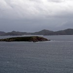 View of Norman Island in the BVI seen from overlook near hilltop