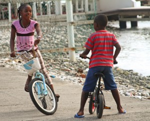 Jost Van Dyke - Children on bicycles