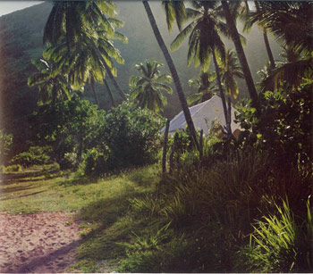 A view of the methodist Church from the dirt track running alongside the beachfront