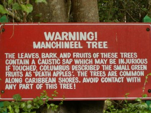 Leinster Bay Road Manchineel Sign