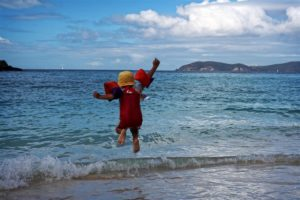Jacob jumping Trunk bay